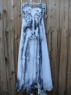 Ghostly white sheer hand painted skeleton dress / size 10 / medium // strapless //halloween costume / day of the dead / dia de los muertos