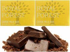 Сладкоежки обязательно оценят шоколад ROYAL FOREST CAROB MILK BAR. Шоколад на основе необжаренного кэроба не содержит сахар и ГМО. По вашей просьбе - выкладываем БЖУ продукта: в одной порции Royal Forest Carob Milk Bar - 536 калорий, 70% жир, 21% углев, 9% белк.