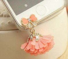 1PC Bling tiffany rhinestone pink flower dust plug earphone plug Apple iPhone 4/4s iphone 5 case ear jack plug   dust plug 3.5mm