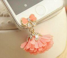 1PC Bling tiffany rhinestone pink flower dust plug earphone plug Apple iPhone 4/4s iphone 5 case ear jack plug   dust plug 3.5mm