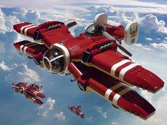 Inspirational and unique Lego ship designs by Jon Hall. Keywords: concept lego spaceships planes by graphic desig. Lego 3d, Lego Plane, Lego Avion, Nave Lego, Retro, Lego Ship, Lego Spaceship, Lego Mecha, Concept Ships
