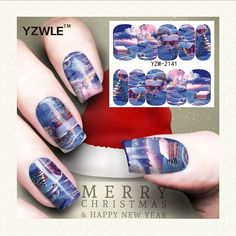 YZWLE 1 Sheet Kerst Ontwerp DIY Decals Nagels Art Water Transfer Printen Stickers Accessoires Voor Manicure Salon (YZW-2141)