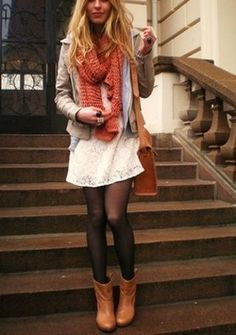white dress, black tights,boots, scarf- love this fall look Fashion Style Looks Street Style, Looks Style, Style Me, City Style, Fall Winter Outfits, Autumn Winter Fashion, Autumn Style, Look Fashion, Womens Fashion