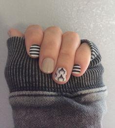 Jamberry Oh Deer, Almond and Black & White Stripe http://ninacrudiger.jamberrynails.net