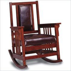 Coaster Mission Style Wood Rocker with Leather Match Seat and Back - 600058 - Lowest price online on all Coaster Mission Style Wood Rocker with Leather Match Seat and Back - 600058