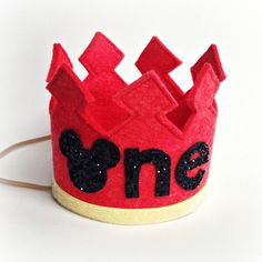 Mickey Mouse First Birthday Crown Headband LARGE - One Year Old Birthday Headband on Etsy, $26.50