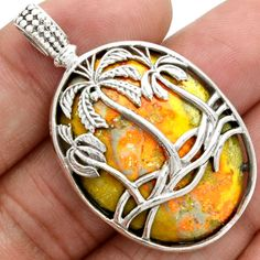 Coconut-Tree-Indonesian-Bumble-Bee-925-Sterling-Silver-Pendant-Jewelry-SP123539