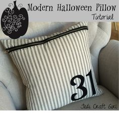 """31"" modern Halloween pillow ~ understated in black & white ticking 