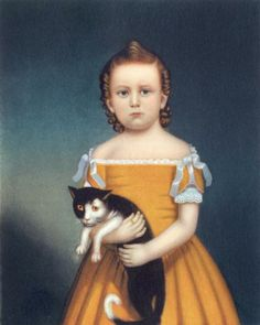 William Thompson Bartoll - Girl in Orange Dress with Cat