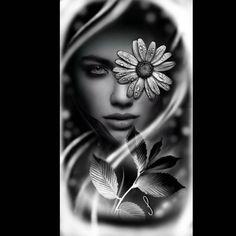 ARTE DISPONÍVEL.  #tattoolife #tattoodesign #tattoomulher #tattooyou Back Tattoo Women, Tattoos For Women, Tattoos For Guys, Girl Face Tattoo, Girl Face Drawing, Henna Tattoo Hand, Arm Band Tattoo, Black And White Face, Black And Grey Tattoos