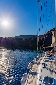 Sail to Palia Kameni, Santorini, Greece ♥