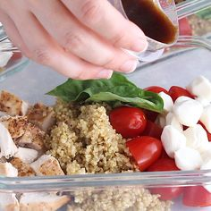 Caprese chicken salad meal prep bowls bring a dose of summer to your lunch. With baked chicken, fresh cherry tomatoes, baby bocconcini, quinoa and basil leaves all drizzled in a balsamic vinaigrette.