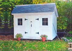 Church Street - Our upgraded saltbox shed with horizontal pine siding and asphalt shingled roofing Small Shed Plans, Wood Shed Plans, Small Sheds, Diy Shed Plans, Cottage Kits, Cottage Style, Small Prefab Cottages, Build A Playhouse, Playhouse Outdoor
