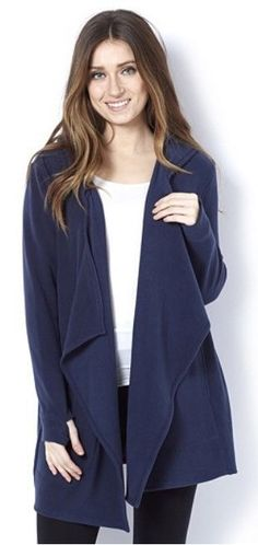 Cuddl Duds Fleecewear Hooded Wrap Cardigan, S / M, Navy Blue, NEW #CuddlDuds #Cardigans #Everyday