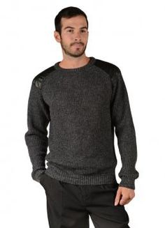 Mundo Sweater - Modern Sweater on a marbled design with shoulder patches (Composition: 100% Baby Alpaca)