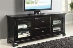 Kaila Black Wood Glass TV Stand
