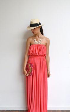 Maxi robe longue corail bustier en jersey et maxi dress fluide tendance été…