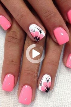 40 Fabulous Nail Designs That Are Totally In Season Right Now Summer Acrylic Nails, Best Acrylic Nails, Spring Nails, Summer Nails, Bright Pink Nails, Pink Nail Art, Stylish Nails, Trendy Nails, Nagellack Design