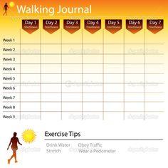 Free Printable Walking Log Chart | Walking Journal Chart | Stock Vector © John Takai #5289563