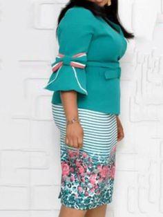 V-Neck Mid-Calf Three-Quarter Sleeve Floral High Waist Dress Calf Sleeve, Detachable Collar, Floral Stripe, Quarter Sleeve, Types Of Sleeves, High Waist, Flare, Bodycon Dress, Neckline