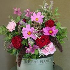 The Real Flower Company Red & Pink Cosmos with Blackberries Bouquet