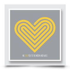 Contemporary WE LOVE YOU TO THE MOON AND BACK wall art  for a boy or girls room. This funky design can also be personalised. Order your art print from http://www.madicleo.com/collections/wall-art-for-boys-rooms