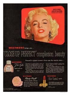 AP3239H - Marilyn Monroe, Westmore Cosmetics Advert, 1950s (30x40cm Art Print)