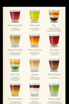 30 Awesome Shots chart you will need when tending your Tiki Bar. Bartender Drinks, Bar Drinks, Yummy Drinks, Alcoholic Drinks, Beverages, Shots Drinks, Easy Shot Recipes, Kahlua Coffee Liqueur, Frangelico Drinks