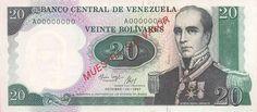 Pieza bbcv20bs-ga01s2 (Anverso). Billete del Banco Central de Venezuela. 20 Bolívares. Diseño G, Tipo A. Fecha Octubre 20 1987. Serie A8. Billete tipo specimen #2