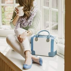 d8d82e070ec Bloch Prima Ballerina Flats in Azure Baby Blue and LK Bennett Gillian Bag