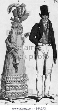 fashion, 19th century, ladies and mens fashion, Germany, lithograph, 1816, frock coat, stovepipe hat, Romaticism, Biedermeier, d Stock Photo