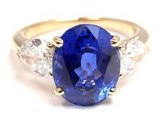RARE Vintage Authentic Cartier 18K Yellow Gold Ceylon Sapphire Diamond Ring | eBay - $38,000