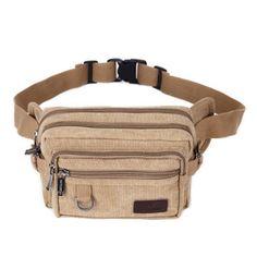 Chest Bag,Fashion Canvas Material Pockets, Messenger Bag Khaki