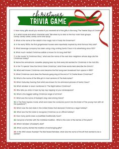 christmas games This Christmas Trivia game will be the perfect addition to your next holiday party and will provide not only thinking but laughs too! Christmas Party Games For Groups, Free Christmas Games, Xmas Party Games, Fun Christmas Party Games, Backyard Party Games, Printable Christmas Games, Dinner Party Games, Holiday Games, Christmas Parties
