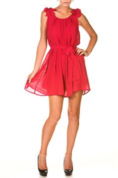$40.75  Double layered ruffled hem shoulder pleat accented solid dress w/ removable waist tie.