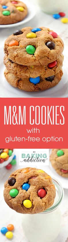 M&M cookies are soft, chewy and loaded with M&Ms! Everyone LOVES these cookies! Recipe contains a gluten-free option!