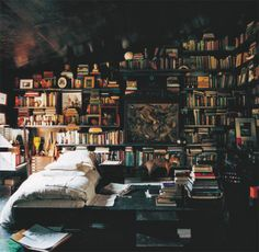 library, bedroom idea. love the design of this. the slanted roof. the built in bookshelves that are stacked at angle. makes the room feel cozy.