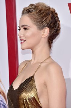 Zoey Deutch Lookbook: Zoey Deutch wearing Braided Updo (9 of 39). Zoey Deutch rocked an elaborate braided updo at the premiere of 'Why Him?'