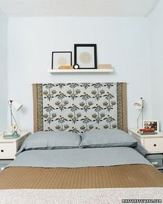 Ingenious headboard -- fabric hung from a wooden dowel