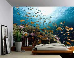 Sous-marin poisson Ocean World - grande murale, papier peint en vinyle auto-adhésif, Peel & Stick adhésifs tissu