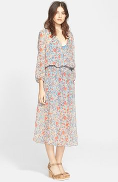Joie 'Pasclina' Floral Print Silk Midi Dress available at #Nordstrom