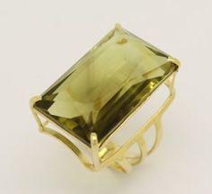 Anel feminino green gold ouro amarelo 18k 750