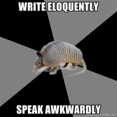 "INFJ problems with the English Major Armadillo: ""Write eloquently. Speak Awkwardly."" Especially when I'm nervous!"