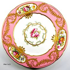 2 Antique Spode Copeland Hand Painted Plate, Pink & Encrusted Gold from antiques-uncommon-treasure on Ruby Lane