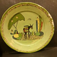 "Excellent Tlaquepaque Mexican Pottery Plate 11"" YELLOW BRICK ROAD? :D"