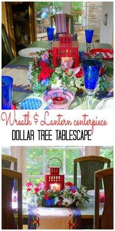 wreath and lantern centerpiece for the 4th of July