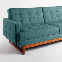 Turquoiose Tufted Loveseat | urban outfitters teal tweed mid century sleeper sofa tufted wood base