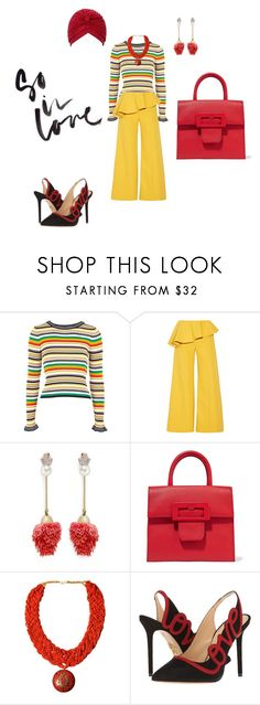 """""""Untitled #1109"""" by steflsamour ❤ liked on Polyvore featuring Topshop, Rosie Assoulin, Venna, Maison Margiela, Urbiana and Charlotte Olympia"""