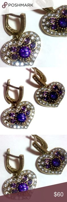 NEW Natural Amethyst Earrings RARE!!! Ottoman Heart Shape Design. Turkish .925 sterling silver w/bronze. Gemstones: Awesome sparkling Amethyst & Topazes. Absolutely amazing Amethyst Earrings from Europe. Turkish Style Jewelry Earrings
