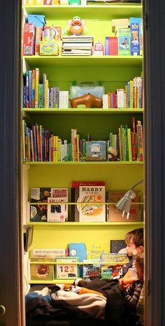 Closet turned into reading nook...I would do 1/2 nook-1/2 closet. I did this as a kid and LOVED my secret little get away! :)